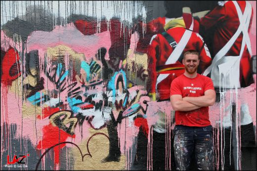 Conor Harrington with artwork