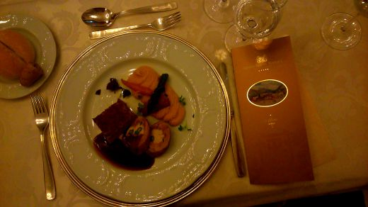 Stuffed leg of guinea fowl with pistachios, saddle of veal, Hotel Toplice