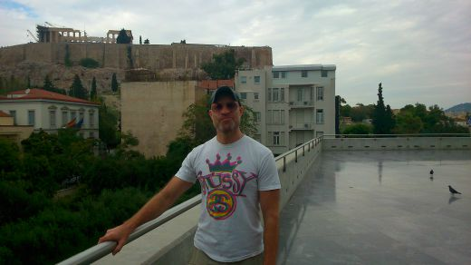 On the terrace of The Acropolis Museum restaurant