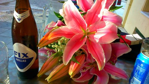 Beer and lillies at The First Cemetery of Athens