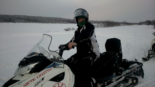 Stewart Who? on a snowmobile in Finland